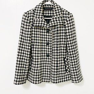 Giacca Black and White Houndstooth Pea Coat